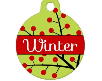 Personalized Pet ID Tag - Winter Berries Custom Name - Pet Tag - Dog Tag - Cat Tag - Child Id Tag