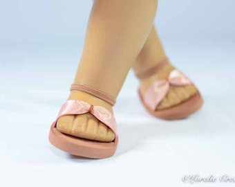 SANDALS SHOES Flipflops in ROSE Gold with Ankle Strap for dolls like American Girl or 18 inch doll