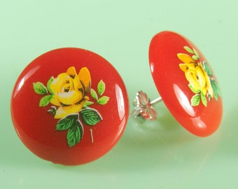 Vintage Yellow Rose Button Post Earrings