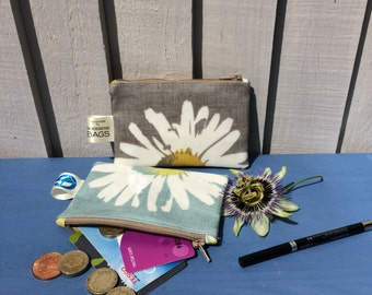 mother's day gift, coin purse, water resistant wallet, daisy oilcloth pouch, wallet, gift for mum, small appreciation gift for teacher