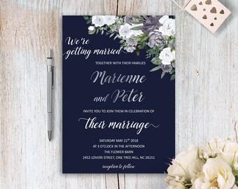 Navy Blue Wedding Invitations Floral Watercolor Wedding Invites Navy and Silver Wedding Invitation Kit Bohemian Wedding Invite Grey Wedding