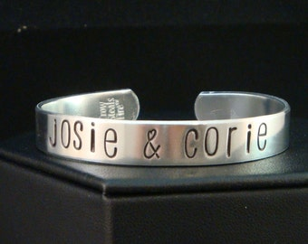 Mothers Cuff Bracelet - Hand Stamped Bracelet, Personalized with Children's Names, Mommy Bracelet - Spunky Font