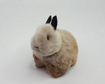 Handmade Authentic Peruvian Stuffed Plush Bunny Rabbit Doll with Alpaca Fur