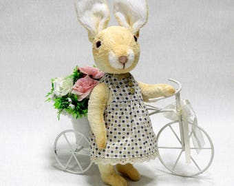 Artist Easter Bunny Rabbit Teddy bear rabbit toy  Funny rabbit bunny OOAK gift for her  Plush rabbit bunny Dressed Bunny Soft sculpture toy
