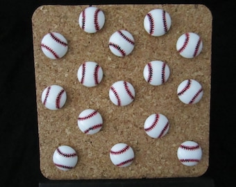 Baseball Push Pins, Free Shipping, Set of 15 Baseball pins, Sports pushpins, Baseball thumb tack, Sports thumb tacks, bulletin board decor