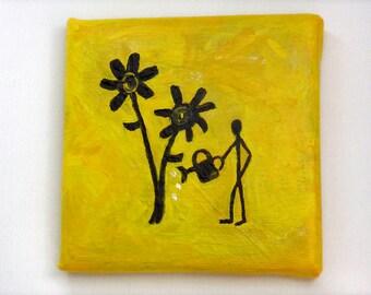 Mini painting, Flower Gardener, small gift, yellow art, gardener gift, mothers day gift, yellow black decor, optional display easel