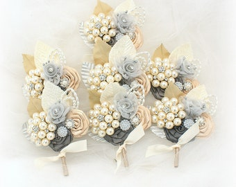 Wedding Boutonnieres Champagne Gray Ivory Charcoal Brooch Boutonnieres Corsages Button Holes Groom Mother of the Bride Gray Bouts