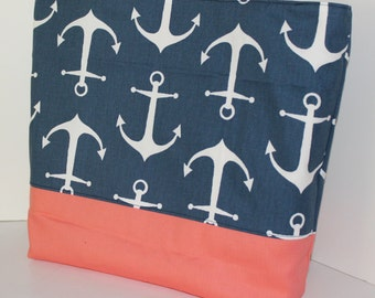 Nautical Tote Beach bag in ANCHORS Navy blue and Coral Standard size . great bridesmaid gifts sorority bags Monogrammed Available