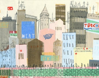 ISTANBUL WALL ART, Galata Bridge, Turkey City Print, Signed Limited Edition, Watercolor Painting, Istanbul Drawing Collage, Clare Caulfield