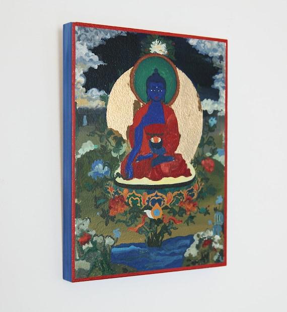 Medicine Buddha wood painting