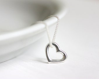 Heart Charm Necklace, Sterling Silver Curb Chain, Minimalist Everyday Jewelry, Mother's Day