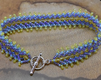 Blue and Yellow Beaded Flat Spiral Bracelet