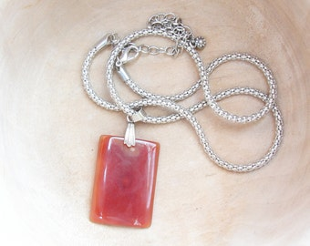 Rectangular Agate Pendant Necklace- Stone and Chain