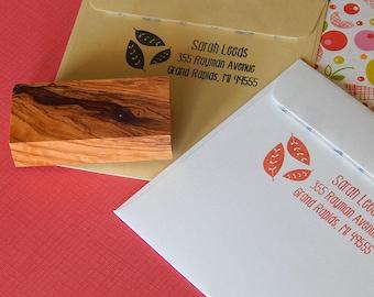 Tumbling Leaves Return Address Stamp on Olive Wood