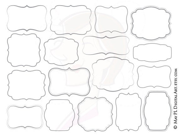 Simple Shapes Gray Frames Png Clipart for DIY Invitations