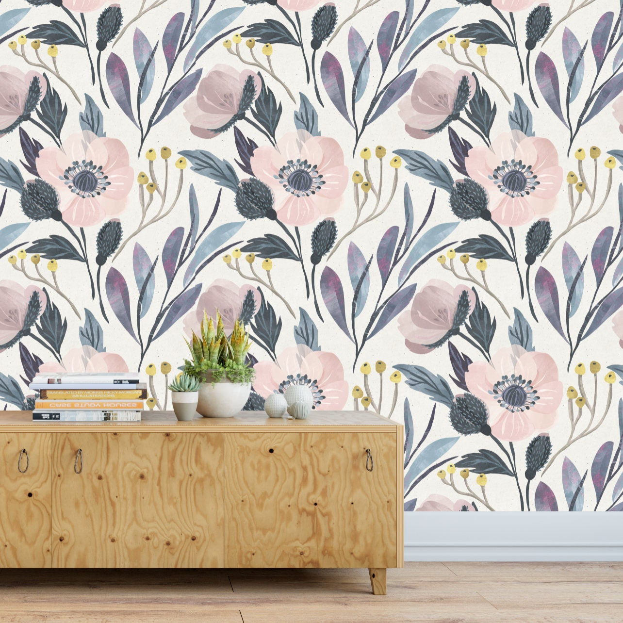 Moody Flower Wallpaper Temporary Wallpaper Removable