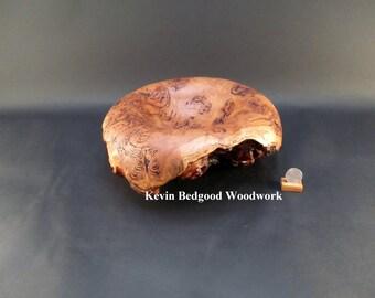 Bowl turned wood, Resin Vein Eucalyptus Burl natural edge