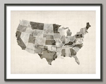 Watercolor United States Map (USA), Art Print (547)