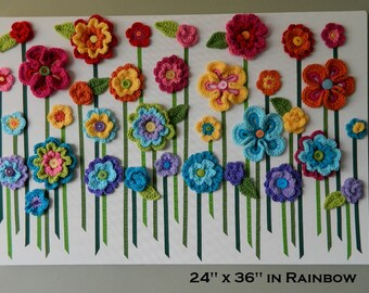 Crochet Flower Wall Hanging, Flower Wall Art, Yarn Flower Wall Art, Baby Girl Nursery Wall Decor -Rainbow or Custom Colors