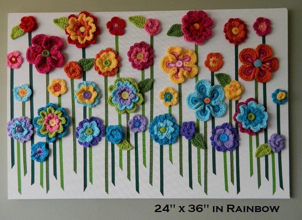 Crochet Flower Wall Hanging Flower Wall Art Yarn Flower Wall