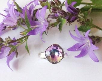 Swarovski crystal ring, Sterling silver ring, made using Swarovski crystal, crystal ring