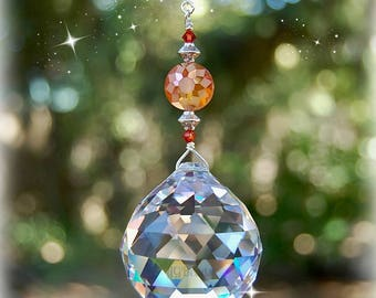 Orange Sunshine Crystal Suncatcher Window Decoration, Prism Crystal Ball, Unique Rainbow Maker