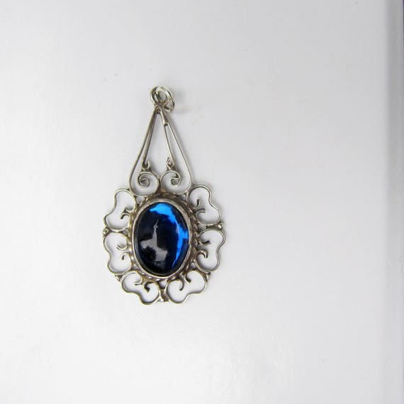 Mexico sterling silver filigree pendant with blue glass mexico sterling silver filigree pendant with blue glass cabochon 2511 aloadofball Image collections
