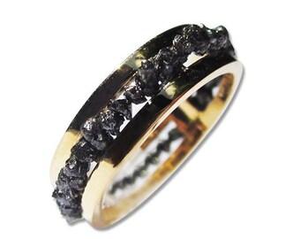 Diamond Wedding Band Black Uncut Rough Diamond Ring