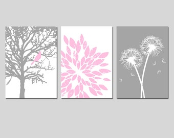 Baby Girl Nursery Art Trio - Bird in a Tree, Abstract Floral, Dandelions - Set of Three 5x7 Prints - CHOOSE YOUR COLORS