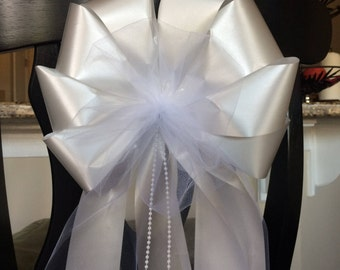 add your flowers tulle ribbon streamers pearl beads LOTS of tulle beads wedding pew chair bows party decorations white ivory