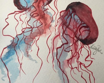 Watercolor Jellyfish Mini Watercolor Original Custom Painting Aquatic Painting Ocean Art