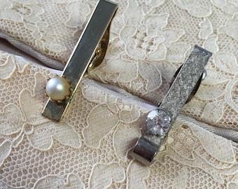 """Vintage 80er Jahre """"CLIPS klassische Krawatte"""" Gold getönten Perle Krawattenklammer & Silber getönten Faux Diamond Krawattenklammer"""
