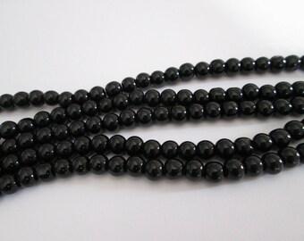 6 mm 30 perles rondes en verre noir diamètre 6 mm
