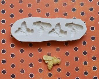 Moule silicone 4 abeilles pour loisirs créatifs scrapbooking
