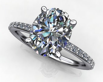 eliza ring - 2 carat oval forever one moissanite engagement ring
