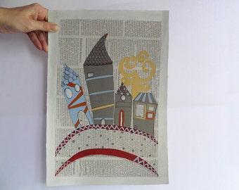 Sopra il ponte.Illustrazione originale dipinta a mano ad acrilico su cartoncino,OOAK  25 x 36 cm. Child art
