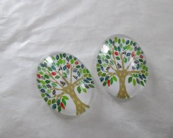 2 cabochons glass 25 x 18 mm tree pattern
