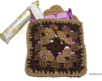 Mini personal carrying pouch, case for towels and tampons, crochet handmade.