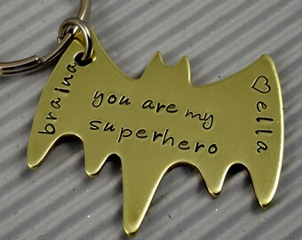 Superhero Gold Key Chain With Names/Dates- Hand Stamped Brass Gold Bat Key Ring - Fathers Day - Boyfriend Husband Partner