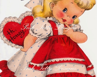 Hi Valentine Vintage Digital Download Printable Image (356)