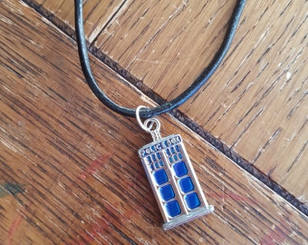 Doctor Who Tardis inspired necklace