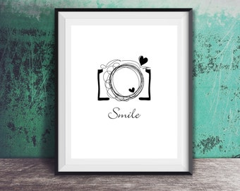 Camera - Smile - shoot - Poster Wall Art Home Decor Typography