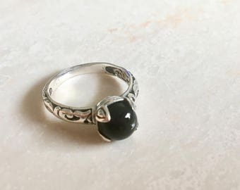 Modern sterling silver and onyx ring size 8- black silver ring- gemstone ring- black stone ring - Mothers day gift idea