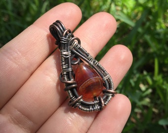 Carnelian Oxidized Wire Wrapped Crystal Necklace
