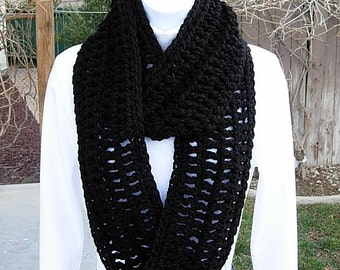 INFINITY SCARF Loop Cowl Solid Black Extra Soft Warm Bulky Crochet Knit Winter Circle Ring Eternity 100% Acrylic..Ready to Ship in 2 Days