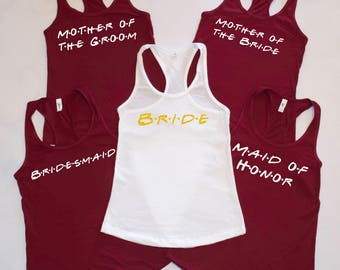 Friendly Bachelorette Tanks, Bridal Party Tanks, Bridesmaid Tanks, Bride Tank Top, Maid of Honor - Bridal party shirts wedding