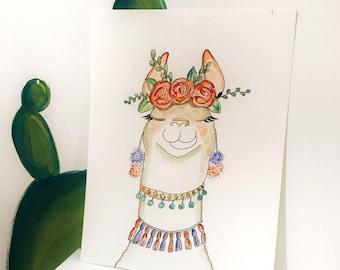 Llama Watercolor 8x10 Art Print