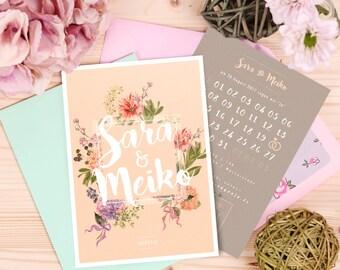 Wedding Invitation Cards | Pastel Vintage Invitation | Summer & Flowers