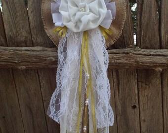 Wedding Bow Burlap Vintage Lace Wedding Bow-Pew Shabby Rustic Chic Decorations