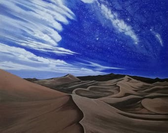 Desert Milky way ,acrylic painting by Zoe Adams.